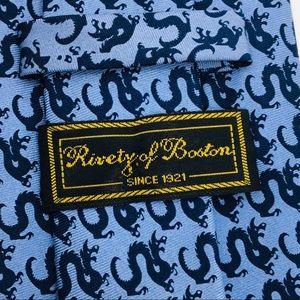 Rivity of Boston Blue Silk Dragon Tie